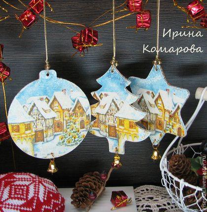 """Ёлочные игрушки """"Рождество"""" - голубой,рождество,немецкое рождество,Декупаж"""