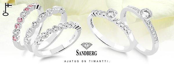 Romanttisen ja vintage-tyylin timanttisormukset Sandbergin Suvituuli-mallsitosta  Via Häät.fi http://www.haat.fi/aiheet/morsiuspari/sormusten-taman-paivan-trendit-mika-on-sinun-tyylisi