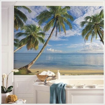New XL BEACH WALLPAPER MURAL Palm Trees Wall Murals Tropical Decor  Decorations
