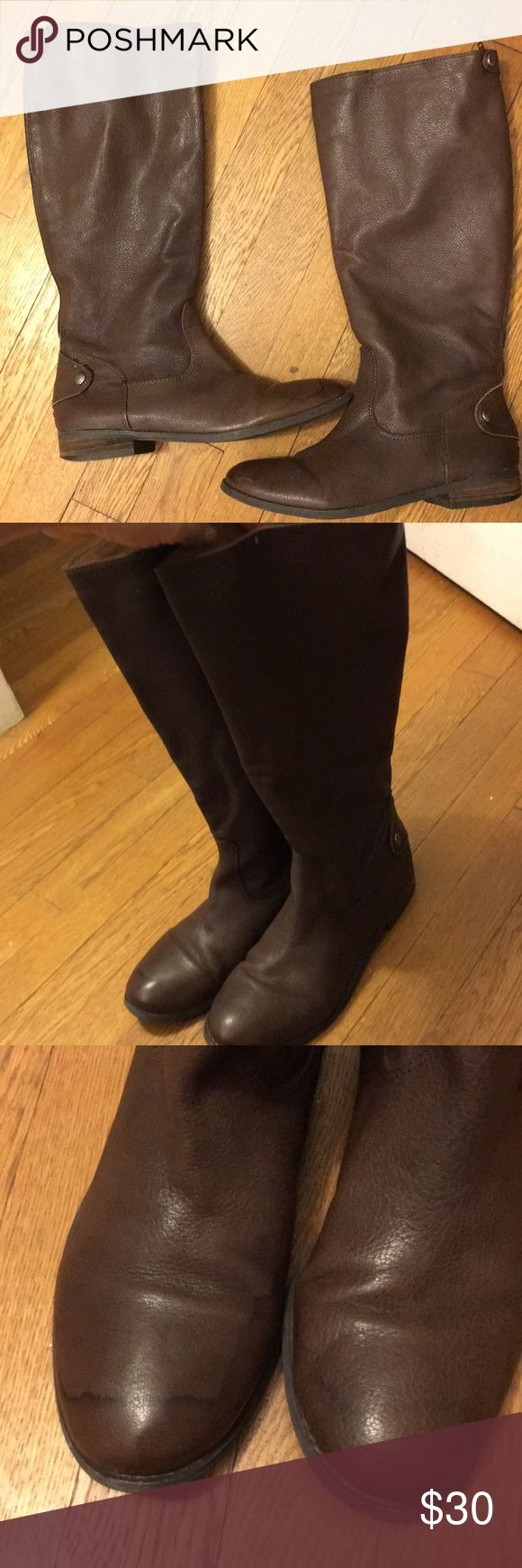 Real leather BCBG boots These boots are soft genuine leather and match with every outfit! They are in good used condition with some water damage on the right toe (see photo). They zip up the back and are super comfortable! BCBGeneration Shoes