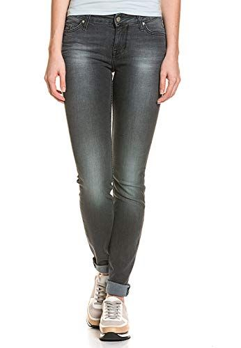 1f3e956e1a Mustang Damen 5 Pocket Jeans Slim Fit Baumwolle Stretch Hose Röhre Hüft  Washed