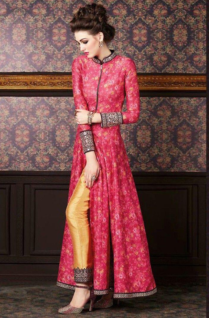 Pink Silk Narrow Pant Kameez with Dupatta - #Pakistani #Fashion
