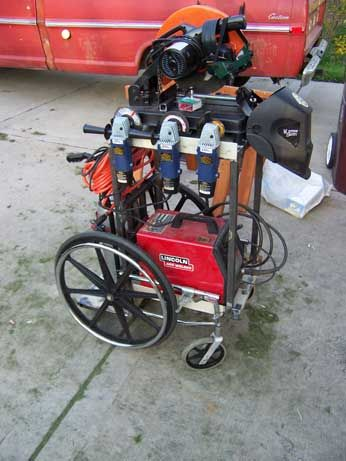 Welding Cart by K.C. Mongo -- Homemade welding cart adapted from a surplus wheelchair. http://www.homemadetools.net/homemade-welding-cart-19