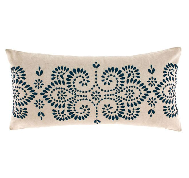 Linen House Naturals Rosie 30x60cm Filled Cushion Denim