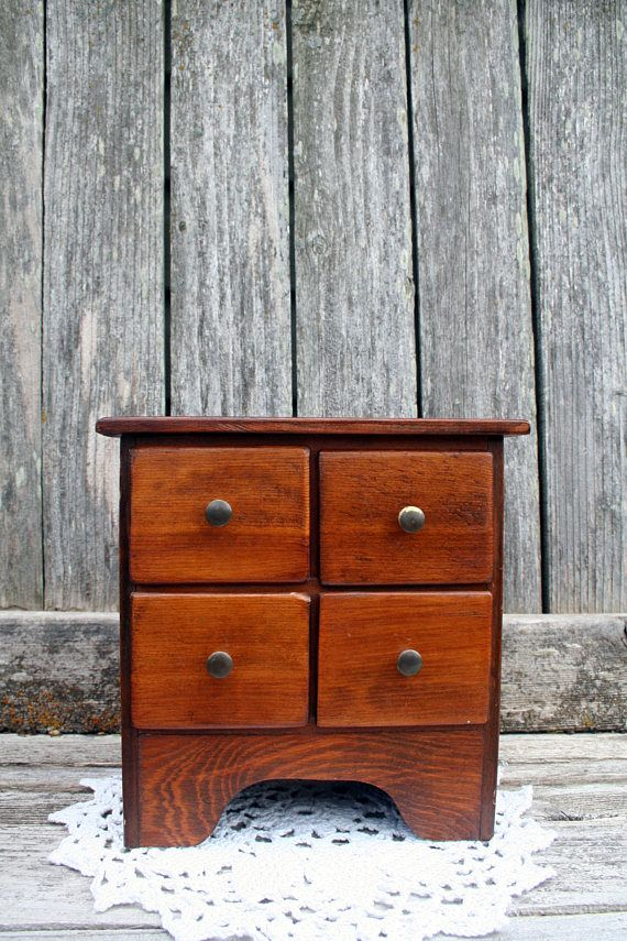 Beautiful Handmade Wood In Rich Golden Brown Chest With Four