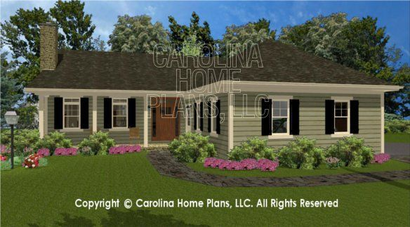 SG-1574 3D Front View - house plans for a small lake house