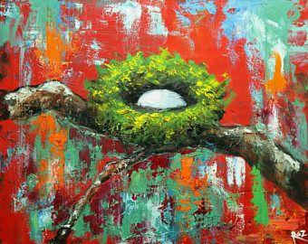 Nido de pintura 309 24 x 30 pulgadas aves nido retrato pintura al óleo original por Roz