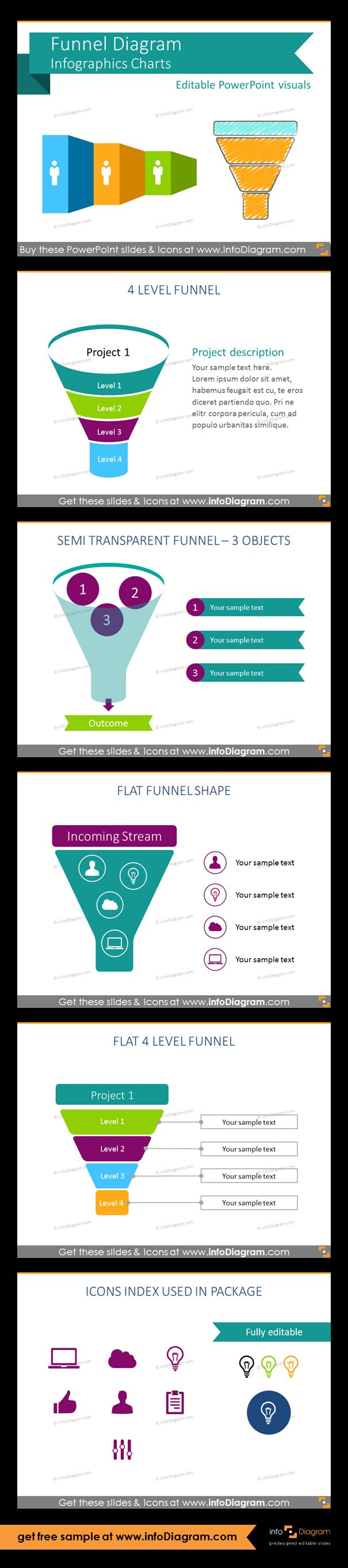 Predesigned Infographics shapes for showing various funnel processes on a slide. Suitable especially for marketing, sales and business development presentations. Semi transparent marketing funnel for 3 objects, flat funnel 2 colors shape for project planning, colored 4-level sales funnel, set of flat icon symbols for infographics: cloud, computer, bulb, thumbs up, man, document.