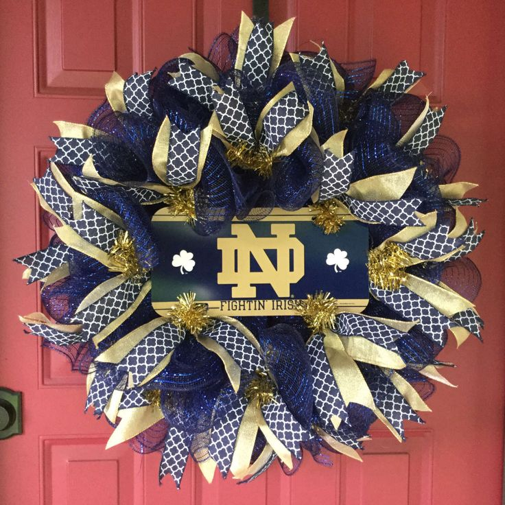 Notre Dame Wreath, Notre Dame Fighting Irish, Sport Wreath, Tailgate Party