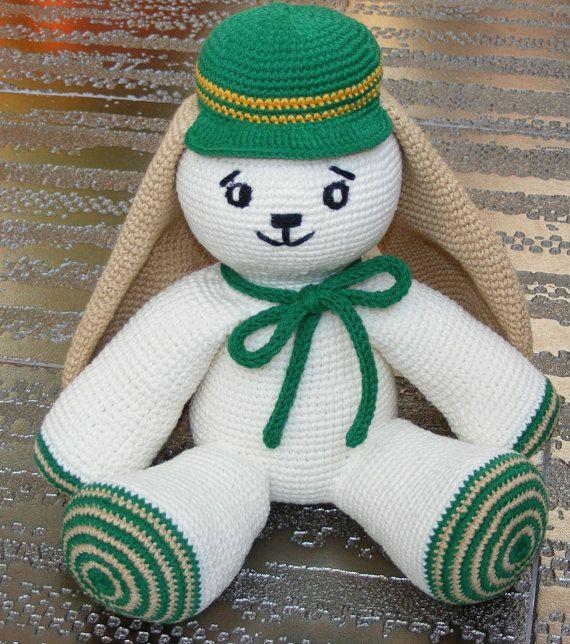 Crochet Easter bunny with green cap cute by cutetoysbycristina