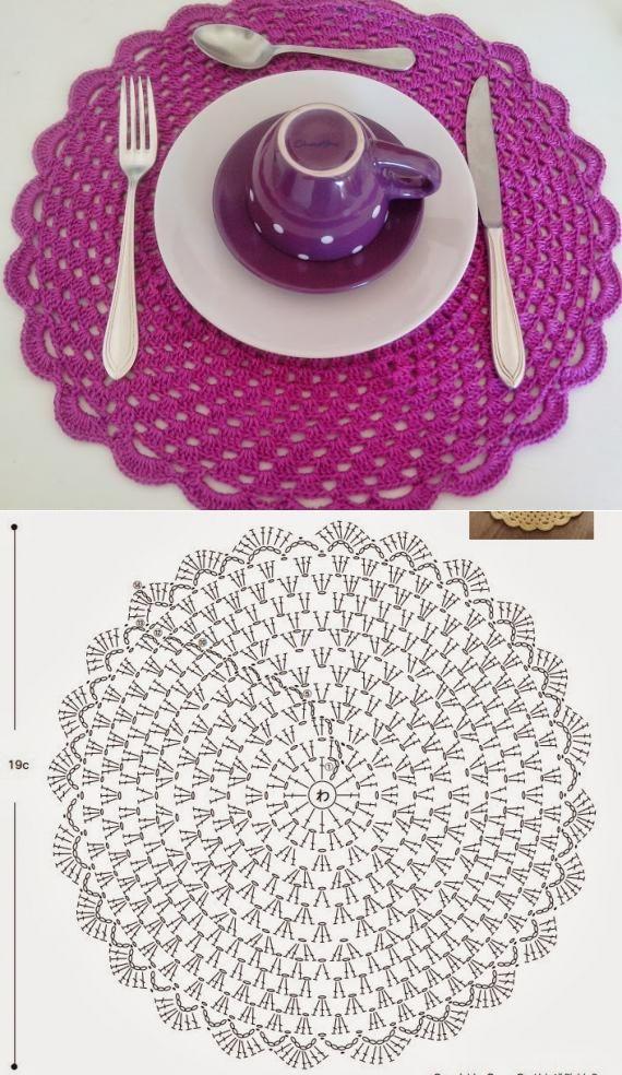 Podívejte se, jak krásné tuto tabulku ve středu pletené příze.  krásná práce pro dekoraci - háčkování vzory zdarma