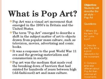 word pop art project   Pop Art PowerPoint and Art Project