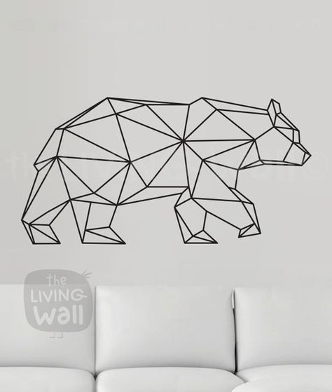 Geometric Bear Wall Decal, Geometric Animals Decor Bear Wall Art Removable Sticker Australian Made