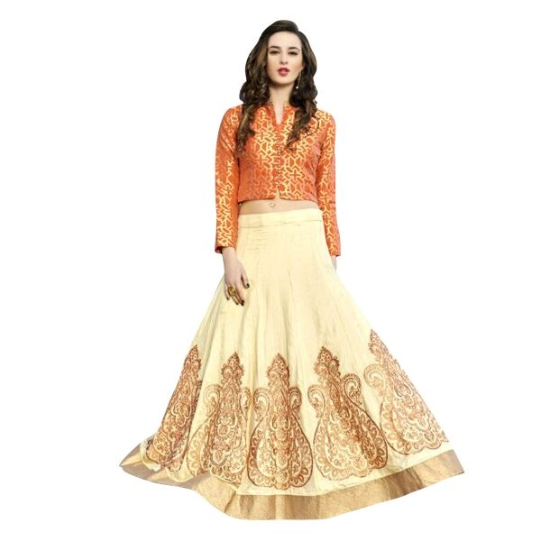 Buy Cream Color Net With Embroidery Work Semi-Stitched Lehenga Choli Online at cheap prices from Shopkio.com: India`s best online shoping site