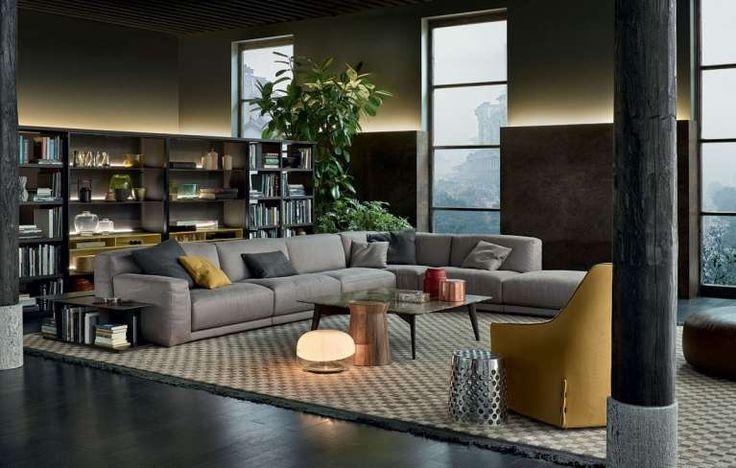 Divano dal design contemporaneo - Divano grigio dallo stile contemporaneo, Poliform divani 2015.