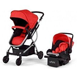 Urbini Omni 3-in-1 Travel System, Convertible Pram Stroller, Infant Carrier Car Seat with Base (Red)