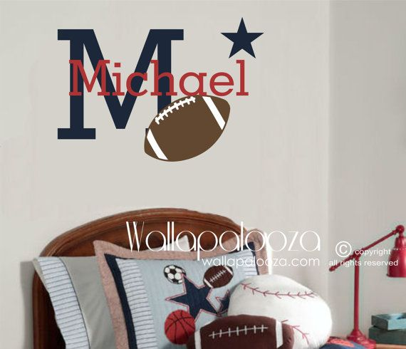 Football Wall Decal  Football Decal  Sports by WallapaloozaDecals