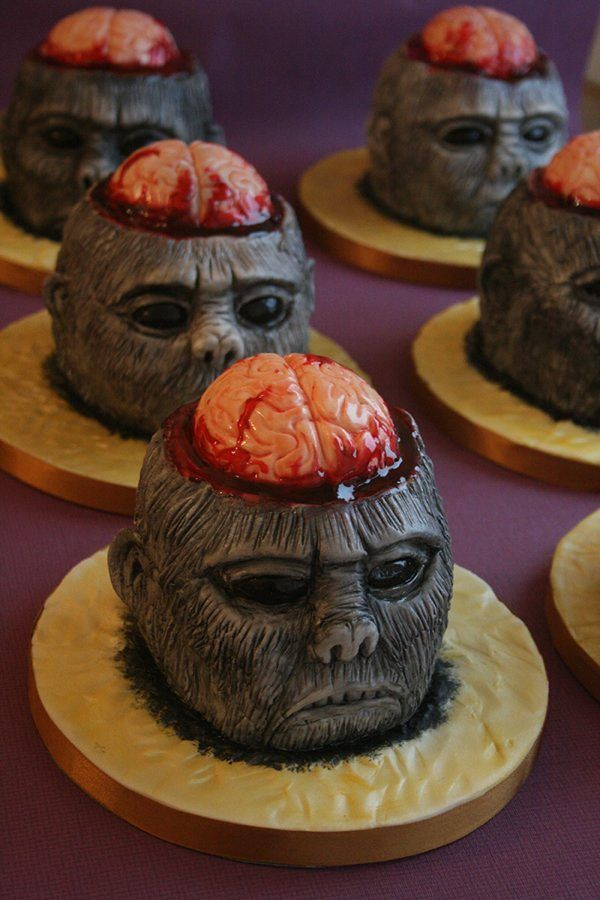frightful bloody monkey in cupcakes inspired by indiana jones and the temple of doom 2014 halloween treats halloween bloody brain cupcakes - Halloween Inspired Cupcakes