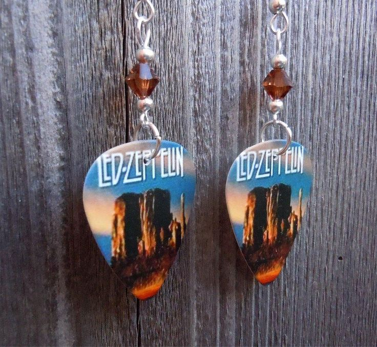 Led Zeppelin DVD Guitar Pick Earrings with Brown Swarovski Crystals