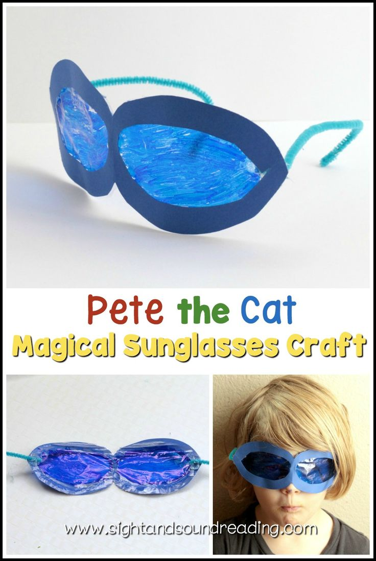 Pete the Cat Magical Sunglasses Craft https://www.sightandsoundreading.com/pete-the-cat-magical-sunglasses-craft/This?utm_campaign=coschedule&utm_source=pinterest&utm_medium=Mrs.%20Karle%27s%20Sight%20and%20Sound%20Reading%7C%20Literacy%20Lesson%20Plans%20and%20%20educational%20activities&utm_content=Pete%20the%20Cat%20Magical%20Sunglasses%20Craft fun craft lets kids create their own set of Pete the Cat magical sunglasses craft based on Pete the Cat and His Magical Sunglasses.