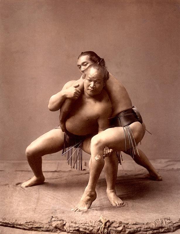 Sumo wrestlers, 1880s