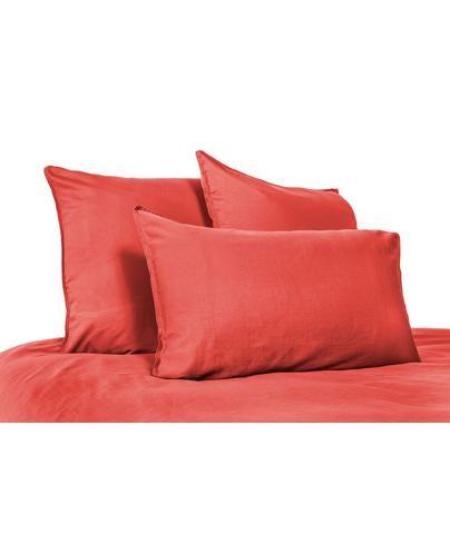 Harmony - Drap plat en lin lavé Viti rouge-orange-tomette - 100% Lin - 240x310 cm - Home Beddings and Curtains
