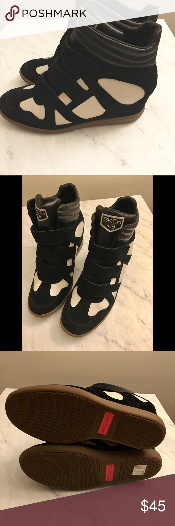 Skechers Wedge Sneakers Black and Tan-colored Wedge sneakers. Very comfortable. Worn once but for some reason felt a bit big so I never wore them again. There are 3 velcro straps across the top. Pretty much like new. Skechers Shoes Sneakers
