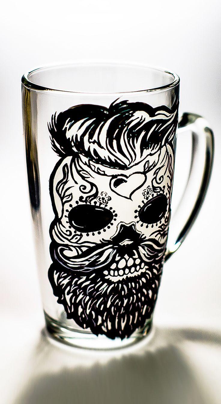 Husband Anniversary Gift For Man Personalized Beard Mug Sugar Skull Favor,  Christmas Custom Gift