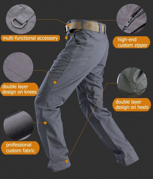 ESDY Mens Outdoor Tactical Water Repellent Pants Teflon DWR Coating Commander Slacks Survival GearOutdoor GearClothing