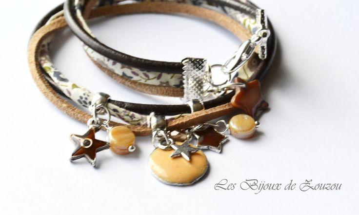 Bracelet liberty et cuir caramel : Bracelet par lesbijouxdezouzou