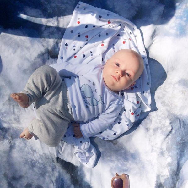 Baby on the Ice and Snow Blanket Design by Studio Run Design. Its a blanket that is inspired by the Canadian Winter Landscape