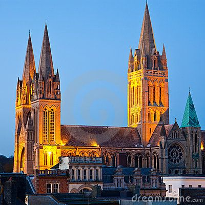 Truro Cathedral at Night Cornwall England UK