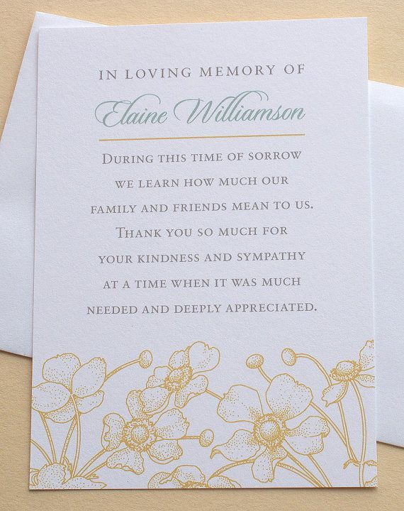 10 best Thank you funeral images on Pinterest Funeral thank you - funeral thank you note