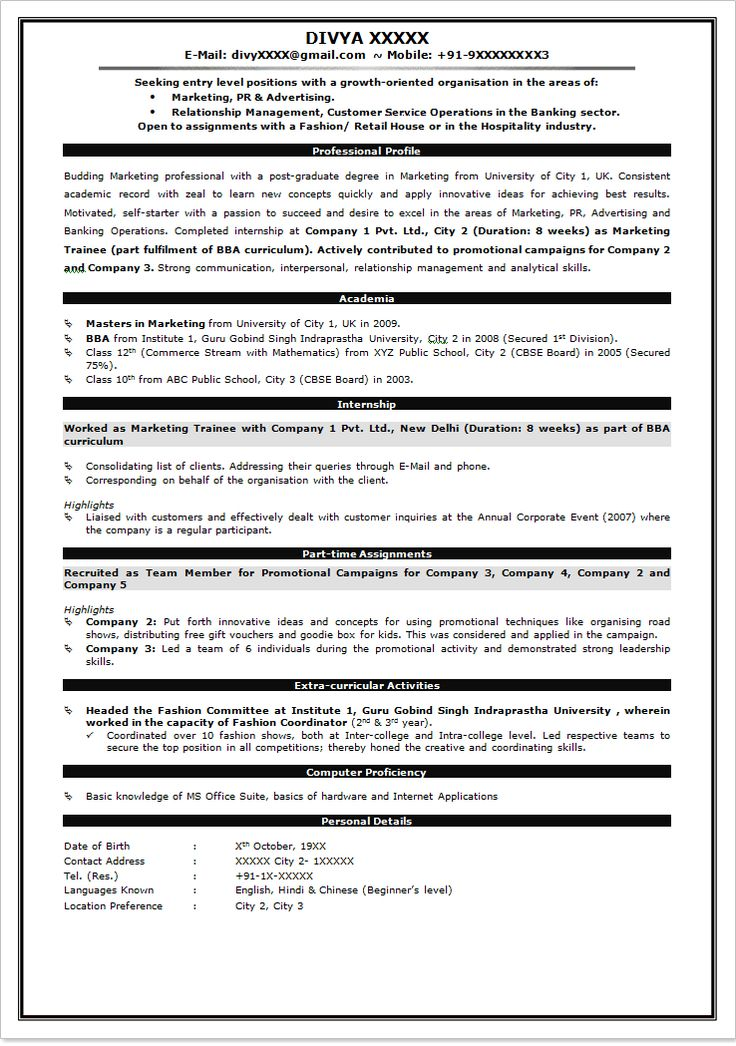 M Tech Fresher Resume Format Resume Format For Freshers