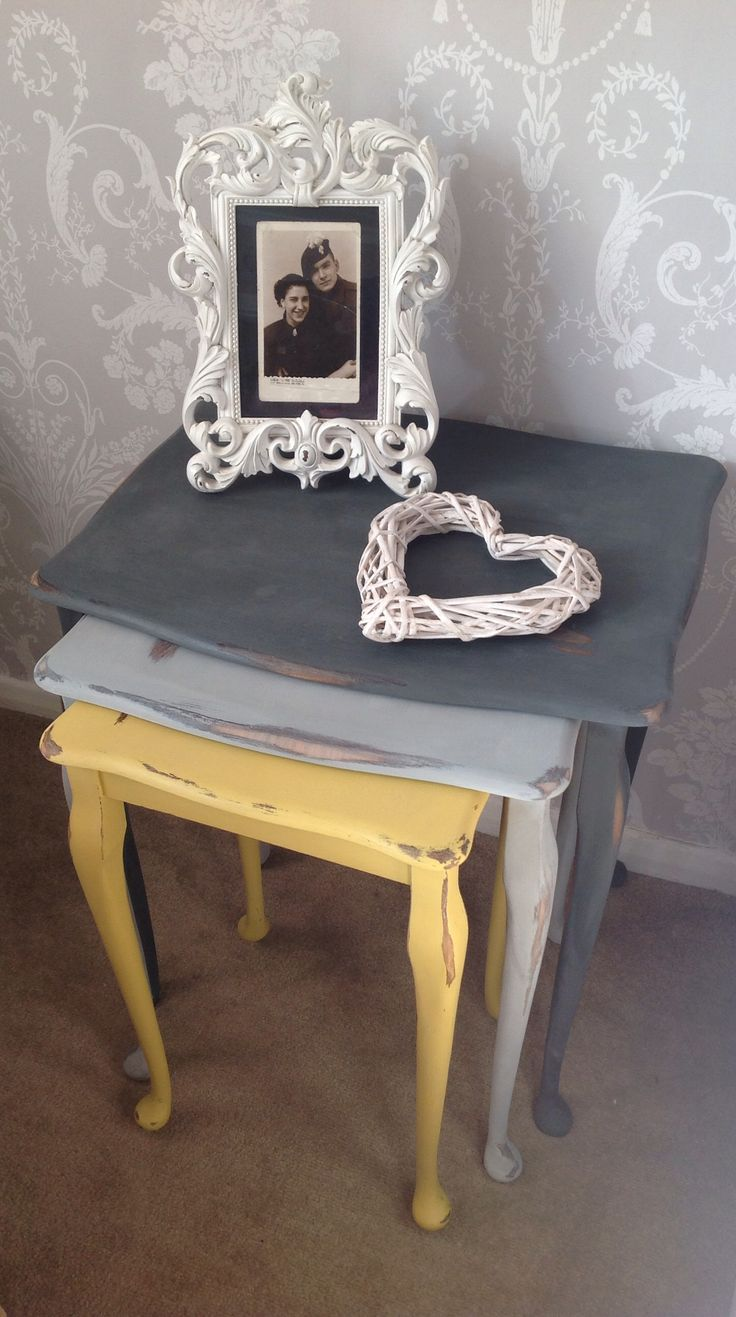 Vintage Street's retro coloured nest of tables. Using Autumn trend colours to create a classic retro look. Painted in Annie Sloan Paints. Just love this piece