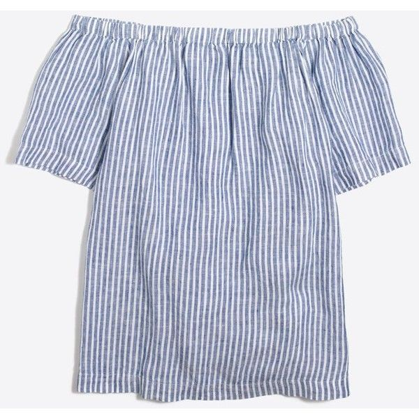 J.Crew Striped linen off-the-shoulder top ($36) ❤ liked on Polyvore featuring tops, stripe top, j crew tops, off shoulder tops, striped top and linen tops