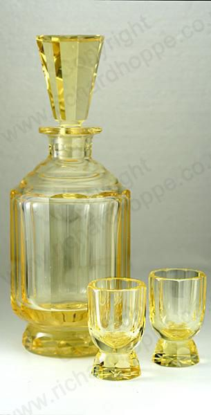 VINTAGE GLASS: c.1930s-40s MOSER ELDOR CUT CRYSTAL DECO DECANTER & PAIR OF MATCHING GLASSES. To visit my website click here: http://www.richardhoppe.co.uk or for help or information email us here: info@richardhoppe.co.uk
