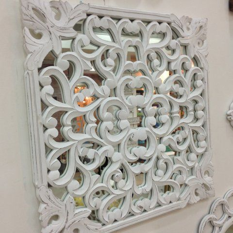 One of our favourite mirror wall art peices! Wooden painted with white! :)  To purchase or enquire email us: info@handmadeworld.in or call us: +91 9899440144 (India)