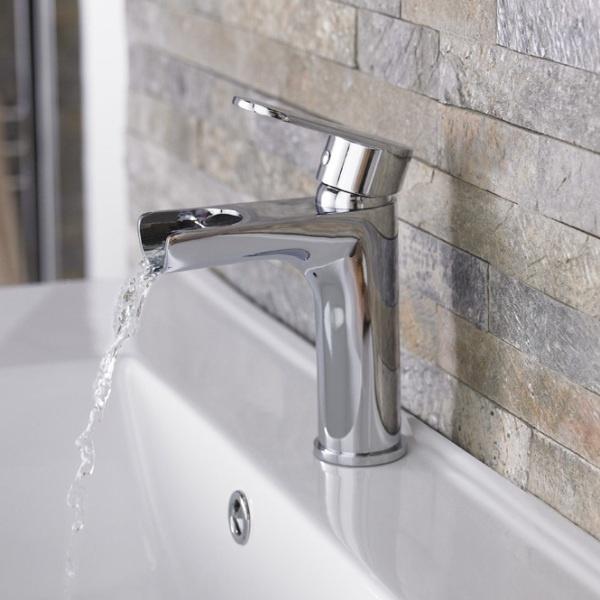 This open spout tap has a lovely spa feel.: Flume Open, Modern Taps, Flume Waterfalls, Waterfalls Taps, Contemporary Waterfalls, Spout Taps, Spa Feelings, Baño Moderna, Open Spout