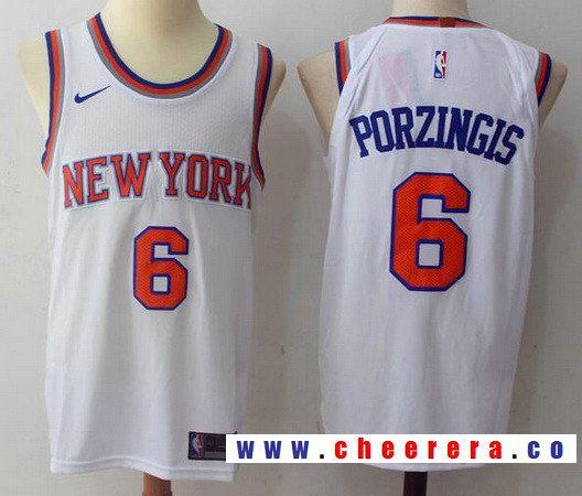 2135d2676b9 Men s New York Knicks  6 Kristaps Porzingis White 2017-2018 Nike Swingman  Rakuten Stitched NBA Jersey