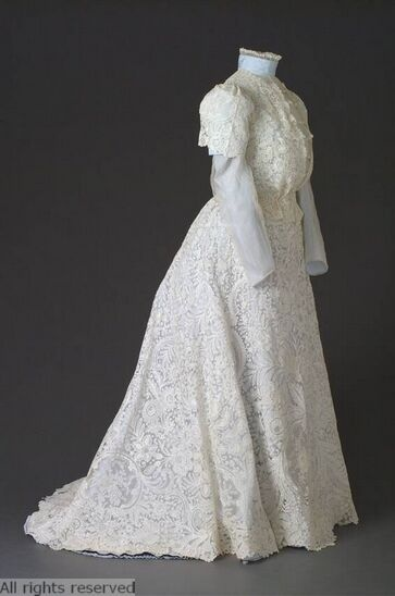 Dress: ca. 1900-1910, Belgian, cotton, needle lace, pillow lace. OPEN FASHION ID 6594