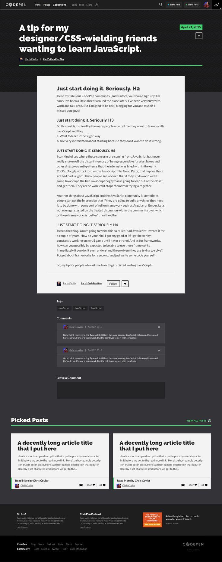 CodePen Typography Explorations by Katie Kovalcin