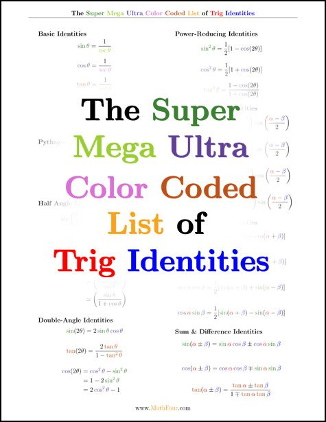 Trig identities are a bear to memorize. But with this color coded free download, theyre just a bit easier! www. MathFour.com