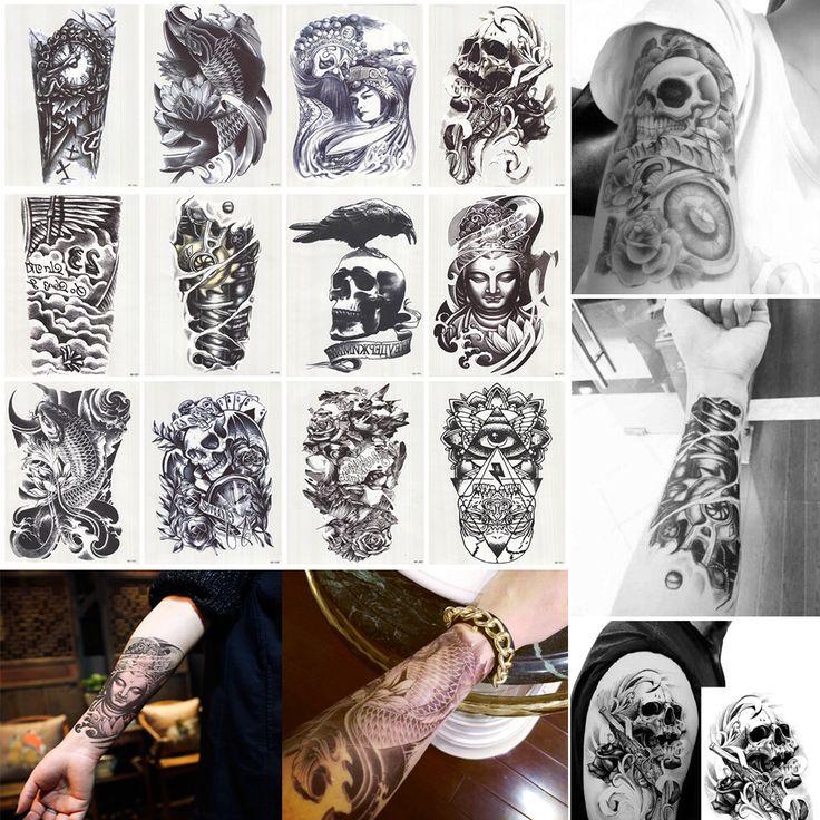 12 Pz/lotto 3D Impermeabile Arte Del Corpo Braccio Gamba Tatuaggio Autoadesivo Bello Tatouage Glitter Nero Temporaneo Tatuaggi tatuaggio di Grandi Dimensioni 210*150mm