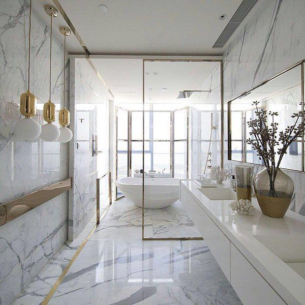 Here Kelly Hoppen Combined Marble With Gold Tones In Small Details Such As The Pendants  E E Ato See More Luxury Bathroom Ideas Visit Us At Www