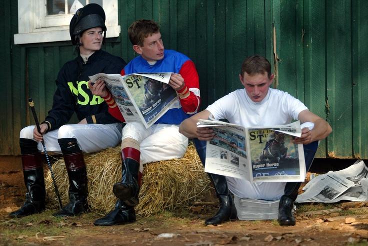 Jockeys reading The Saratoga Special