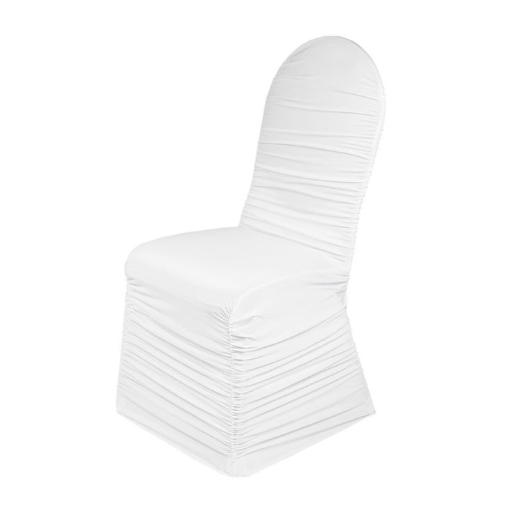 Ruffled Stretch Chair Cover White