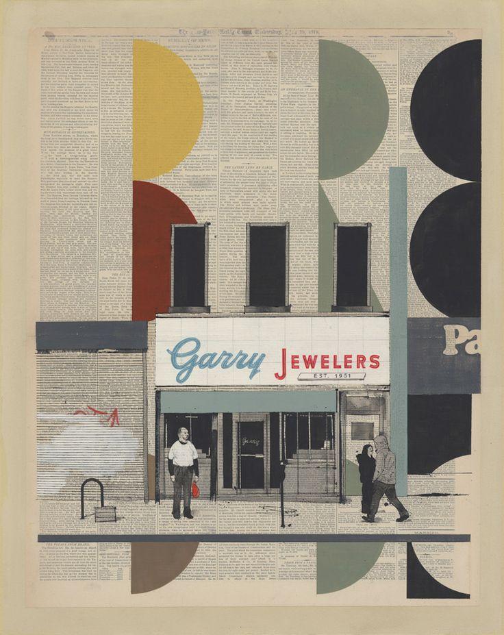 evan hecox: painted newspaper prints  evoked by the scenes of newyork city    http://evanhecox.com/