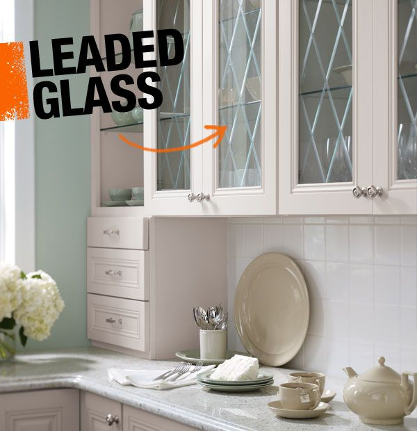 How To Put Glass In Kitchen Cabinet Doors: Love These White Cabinets With Leaded Glass Inserts And