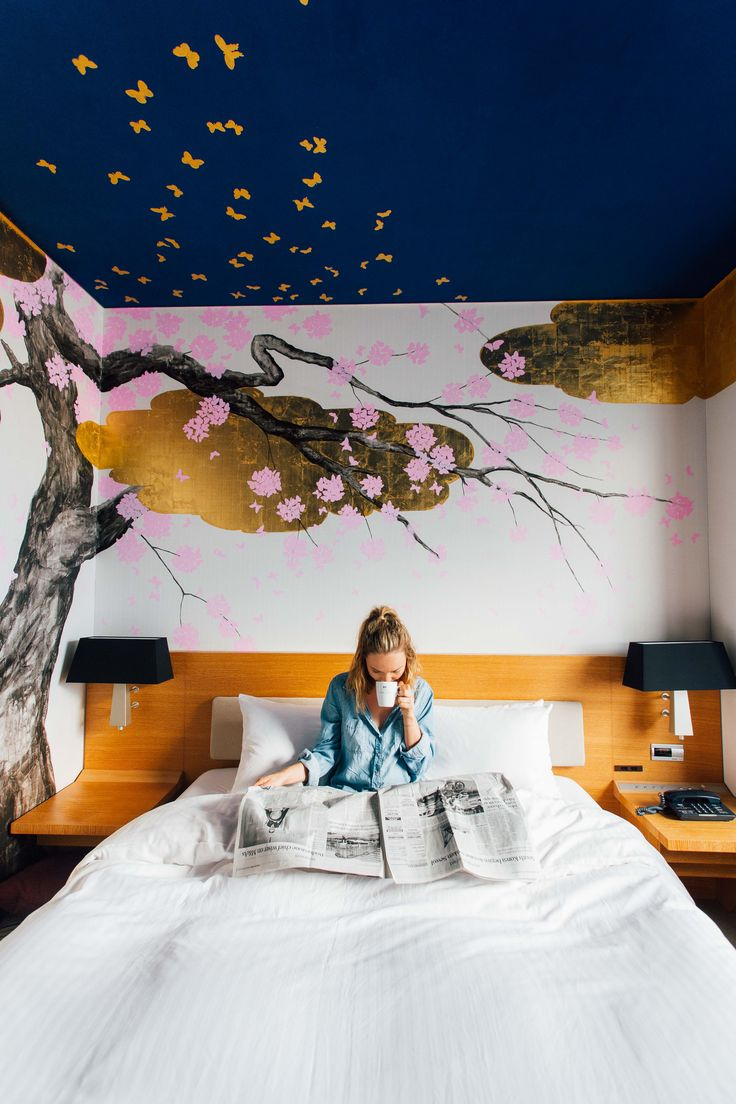 A unique boutique hotel room in Tokyo featuring Cherry Blossom Artwork